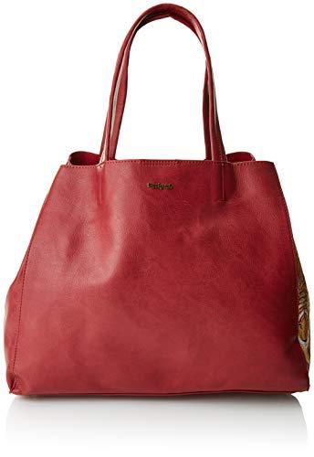 Desigual - Bols_rosso Cuenca, Shoppers y bolsos de hombro Mujer, Rojo (Carmin), 16.5x30x37.5 cm (B x H T)