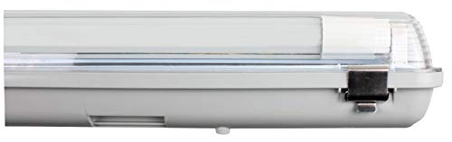 Müller-Licht LED-Feuchtraumleuchte 120 cm für höchsten Lichtkomfort - schönes neutralweißes Licht (4000 K) für optimale Arbeitsbeleuchtung - 1 x 18 W LED Röhre - IP65 - grau