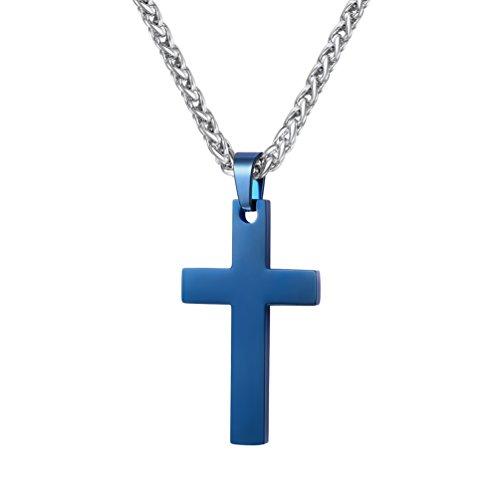 PROSTEEL Colgante de Cruz Sencilla de Acero Inoxidable con Cadena Trigo 60cm Colgante Religioso para Hombre Mujer