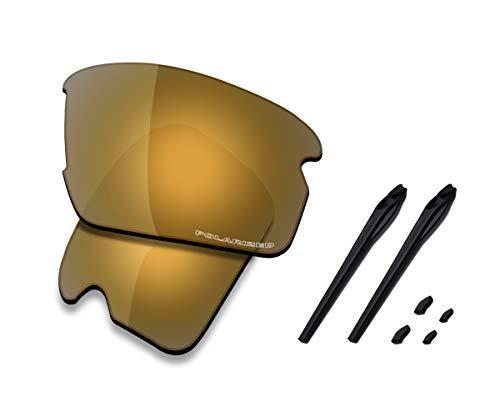 Saucer Premium Ersatzgläser & Gummikits für Oakley Flak 2.0 Asian Fit OO9271 Sonnenbrille, (High Defense - Bronze Gold Polarisiert), Einheitsgröße