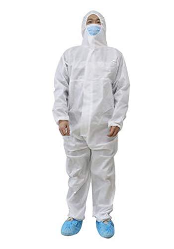 Schutzkleidung, Schutzanzug, mit Kapuze, Weiß, für Chemikalien und Bio-Vlies, SMS, XXL, weiß, 1