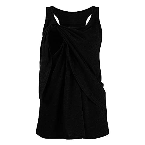 NP Maternidad de las mujeres de doble capa sin mangas para la lactancia de la camiseta casual, Negro, M