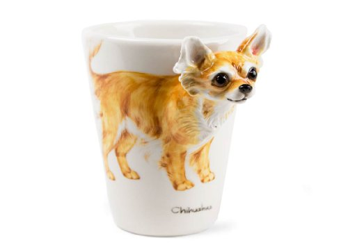 Langhaar-Chihuahua Kaffeetasse handgefertigt Beige 225g (10cm x 8cm)