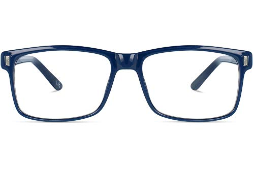 Brille mit wählbare Sehstärke (inkl. Zylinder) | Calvin | Rechteckige Brille aus Kunststoff | Blau | Charlie Temple