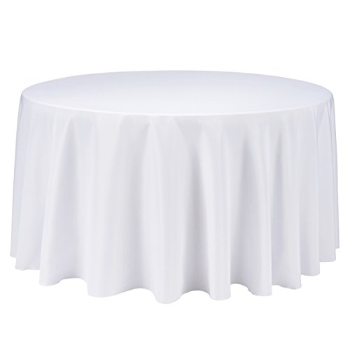 Remedios 120-inch Round Polyester Tablecloth Table Cover - Wedding Restaurant Party Banquet Decoration, White