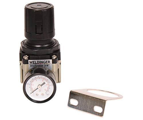 """WELDINGER Druckluftregler 1/4\"""" 0-10 bar mit Manometer und Halterung für Kompressoren (ohne Kupplungen)"""