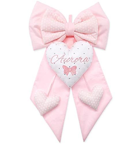 Fiocco nascita bimba rosa chiaro da personalizzare - coccarda per le nascite - con ricami disegno e nome personalizzabili