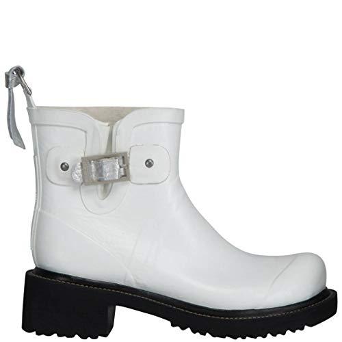 Ilse Jacobsen Stiefelette | Gummistiefel Kurzschaft Schuhe | Boots mit Absatz und Leder Band | RUB60 White 41 EU