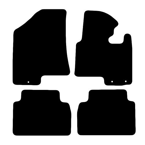 Carsio Tailored Black Carpet Car Mats for Kia Sportage 2010 to 2016-4 Piece Set with 3 Fixing Holes