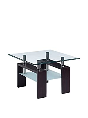 Global Furniture USA 2-Tier Glass-Top End Table with Chrome Tubes