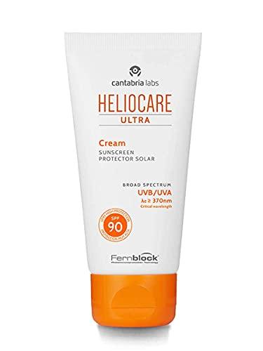 Heliocare Ultra 90 - Gesichts-Sonnencreme SPF 50+, sehr hoher Schutz, pflegt und hydratisiert, ohne weiße Rückstände, ohne Maskeneffekt, normale oder trockene Haut, 50 ml
