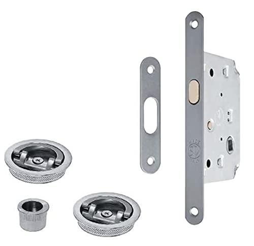 Kit para puerta corredera – Cerradura con gancho + gache + tiradores empotrados (anilla + anilla)