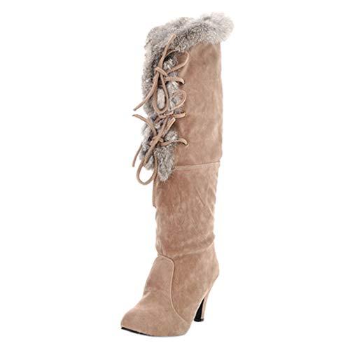 Andouy Damen Mode Spitze Zehe Wildlederstiefel Oberschenkel Hoch Stiletto Stiefel mit Plüschfutter(37 EU,Beige)