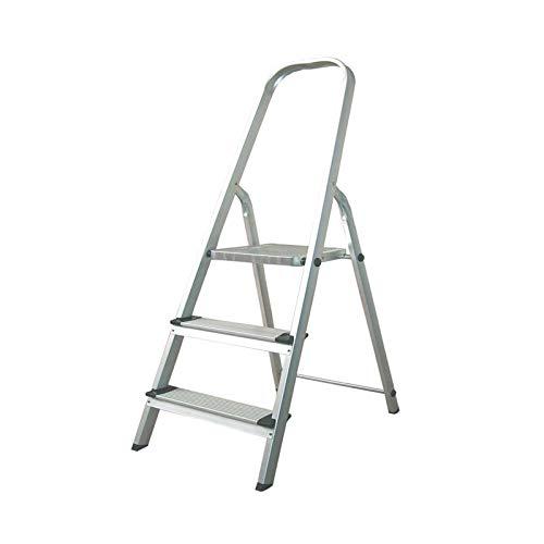 CATTER HOUSE KHG20003 - Escalera de Aluminio 3 Peldaños Alt. Máx. Trabajo 260 cm Plegable con Barandilla