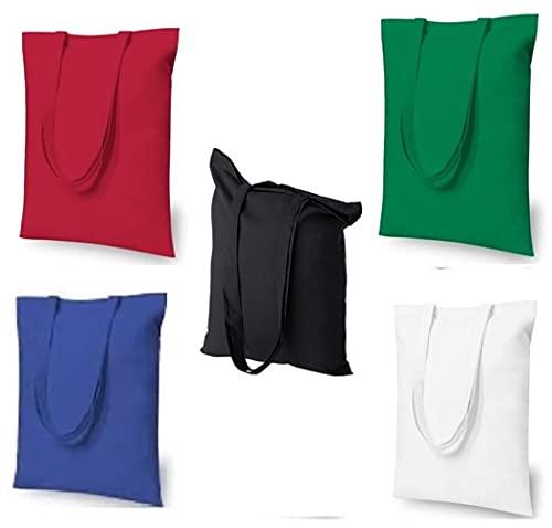 Bolsa de lona de algodón de varios colores - Bolsas de tela reutilizables para comestibles - Adecuado para publicidad, promoción, regalos - Tamaño 15 'W x 16' H. (Paquete de 5)