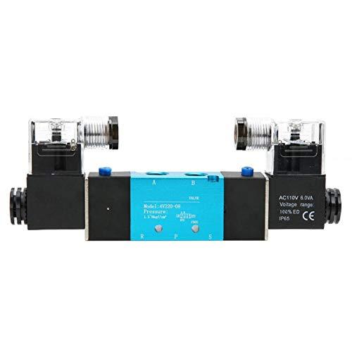 Válvula solenoide neumática, 4V220-08 Válvula solenoide de control dual de 2 posiciones y 5 vías IP65 Válvula de aire 1.2Mpa IP65 DC/AC(AC110V)