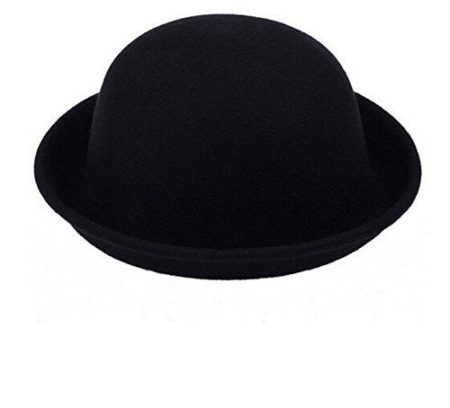 TININNA Vintage Vintage Mujer Sombrero Hongo Gorra Bombín con Visera Curvada Bowler Hat tamaño Adulto 57cm Negro
