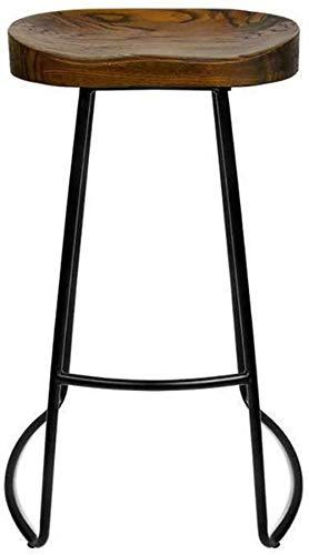 HZYDD Sillas HX Industrial Style Vintage Antiguo Barra de Cocina Bar Taburete Metal Negro y Asiento de Madera Maciza FBN/B, Color Nombre: A (Color : A)