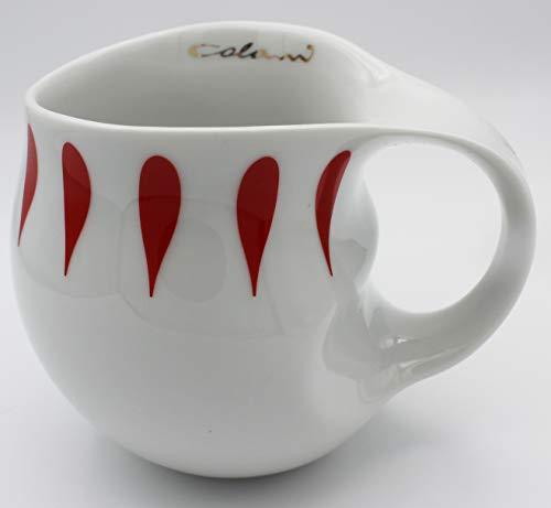 """Luigi Colani dekorierte Kaffeetasse Becher Tasse Cappuccinotasse Kaffeebecher """"Gold&Color"""" Drops rot/red 280 ml"""