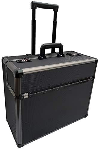 Pro XL Black / Gun Metal Aluminium Pilot Wheeled Trolley Case Hard Briefcase Flight Attache on Wheels