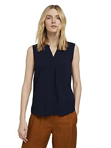 TOM TAILOR Damen 1025819 Top Bluse, 10668-Sky Captain Blue, 44
