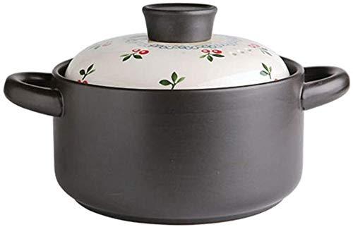 WJHCDDA Cacerolas Clay Pot Clay Pot Cocina-Jese Estilo Cereza Ceriña Cerámica Cazuela Stef Pot Hogar Sopa A Gas Resistente al Calor Resistente al Calor Sopa Pot Sopa Passerole (Size : 3.5L)
