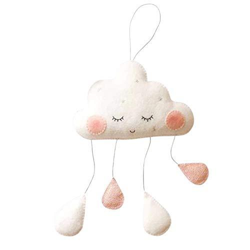Mobile Wolke mit Gesicht in Rosa/Weiß, Maße Wolke: B: 20cm, H: 20cm