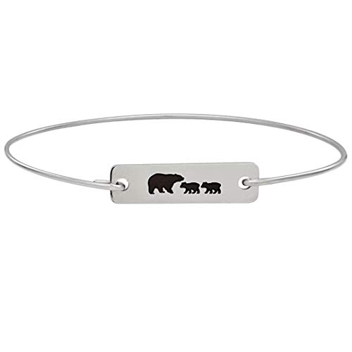 Mama Bear with 2 Cubs Bracelet Mom Baby Shower Gift Mother Birthday Jewelry Bangle Avg Size Woman
