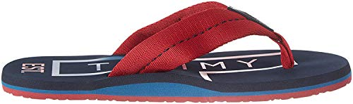 Tommy Hilfiger Hilfiger Badge Beach Sandal, Sandalias con Punta Abierta para Hombre, Rojo (Regatta Red Xit), 45 EU