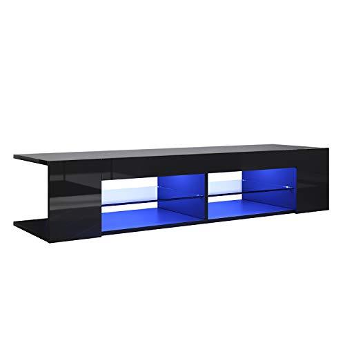 SONNI Mueble TV Blanco/Negro Brillo,Mesa para TV de Salón con LED Grande (135x39x30cm, Negro)