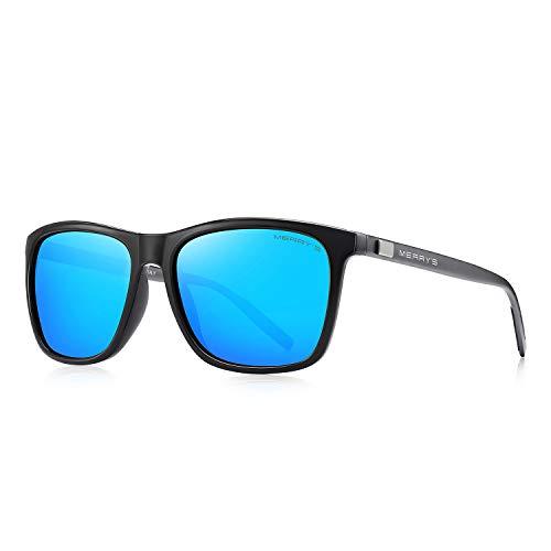 MERRY'S Unisex Polarized Aluminum Sunglasses Vintage Sun Glasses For Men/Women S8286 (Blue, 56)