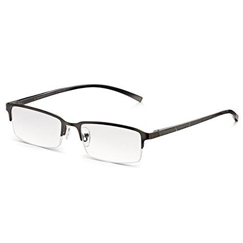 Read Optics Herren Lesehilfe: Lesebrille mit moderner, rechteckiger Supra Halbfassung und Sprungscharnieren. Entspiegelte und kratzfeste Premium Difuzer™ Gläser mit UV Schutz in Stärke +3,5 Dioptrien