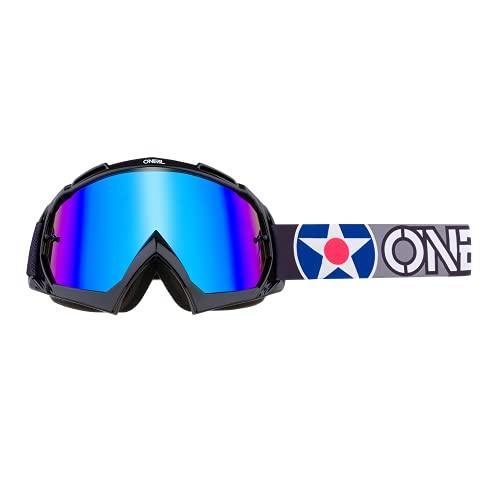 O'NEAL | Fahrrad- & Motocross-Brille | MX MTB DH FR Downhill Freeride | Hochwertiges 3D-Formmaterial für ultimative Klarheit, UV-Schutz | B-10 Goggle | Unisex | Schwarz Grau verspiegelt | One Size