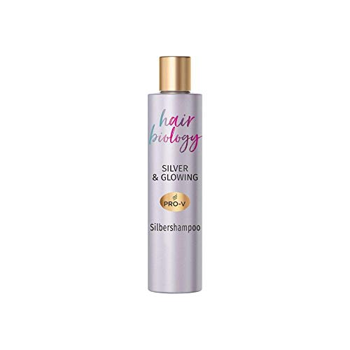 Hair Biology Silver & Glowing Silbershampoo, 250ml, Für Blondes, Graues&Weißes Haar,Silver Shampoo, Gelbstich, No Yellow Shampoo, Blond Shampoo, Anti-Yellow, Purple Shampoo, Mit Jojoba Öl