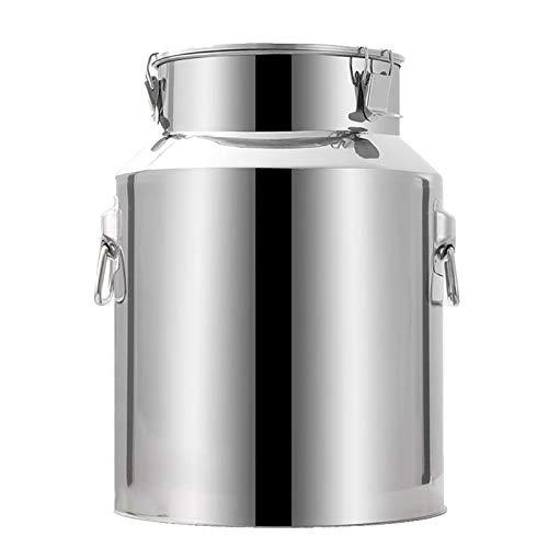 Tanica in metallo con coperchio per fermentazione, contenitore per latte in acciaio inox, contenitore ermetico per il trasporto di lattine sigillate, olio di arachidi e vino (dimensioni: 28 l).