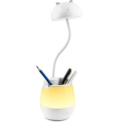 GRSTREE Schreibtischlampe Kinder, pflegeleichte Tischlampe mit Stifthalter, flexibler Schwanenhals, wiederaufladbare Schreibtischlampe zum Lesen, robuste Lampe für Kinder - Weiß