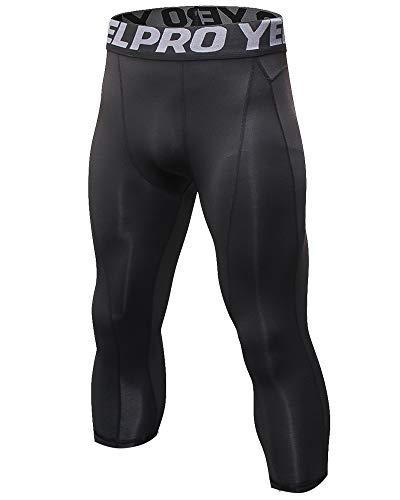 Shengwan Leggings 3/4 Hombre Deportivos Mallas Térmicos Correr Gimnasio Pantalones de Compresión Negro XXL