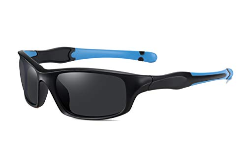 SKILEC Gafas de Sol Hombre Mujer Polarizadas TR90 - Gafas Running, Gafas Ciclismo Hombre ideales para Deporte, MTB, Golf, Bicicleta Gafas de Sol Deportivas Protección 100% UV400 (Negro Azul/Negro)