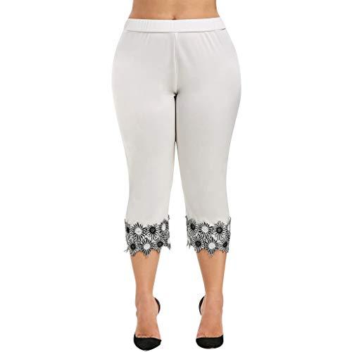 Asalinao Damen Hosen Leggings Gamaschen Art- und Weisefrauen beiläufige elastische Taille Plus Größen-hohe taillierte Applique Gamaschen-Hose