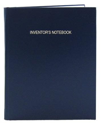 "BookFactory Blue Inventor's Notebook - 96 Pages (.25"" Grid Format), 8 7/8"" x 11 1/4"", Blue Imitation Leather Cover, Smyth Sewn Hardbound (LIRPE-096-LGR-A-LBT5)"