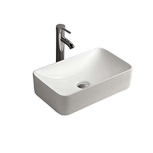 Gimify Aufsatzwaschtisch Rechteckig Design ohne Überlauf Waschschale Badezimmer Keramik Weiß 29x47x12.5cm