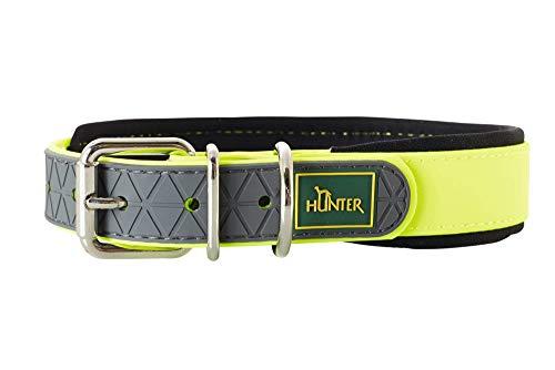 HUNTER CONVENIENCE COMFORT Hundehalsband, Kunststoff, Neopren, wasserfest, schmutzabweisend, gepolstert, 55 (M-L), neongelb
