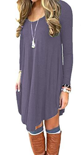 DEARCASE Women's Long Sleeve Casual Loose T-Shirt Dress Purple Gray Small