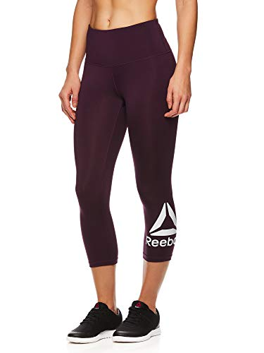 Reebok Women's High Waisted Capri Workout Leggings - Cropped Performance Compression Gym Tights - BlackBerry Wine, X-Small