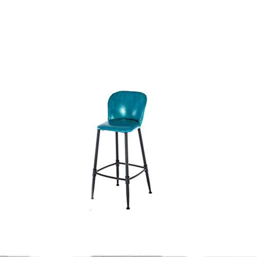 XINGPING-Furniture Chaise de bar Moderne Simple Art en fer Support de table en bois massif Combinaison de chaise de chaise Dossier européen Chaise de bar (Couleur : Bleu)