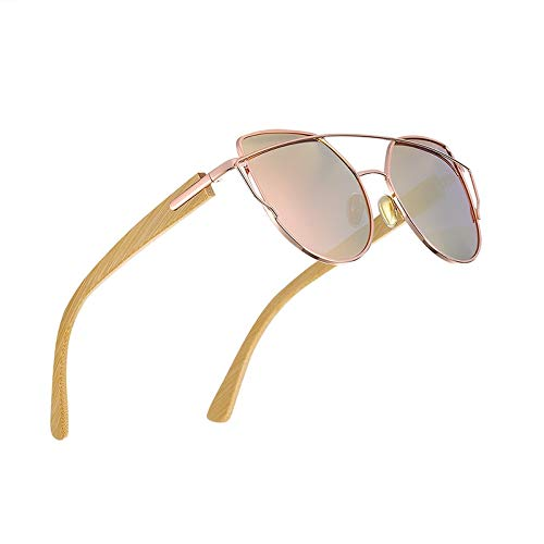 HHCUIJ Gafas de sol de moda gafas de sol retro Gafas de sol de bambú natural Gafas de sol de playa de madera para hombre polarizadas hechas a mano para mujeres Anteojos