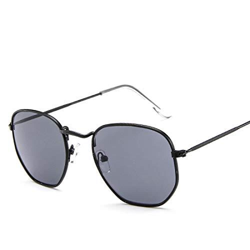 Polygon Clear Square Gafas De Sol Mujer Moda Diseño De Marca Lady Vintage Metal Marco Pequeño Gafas De Sol Lisas Uv400 Negro