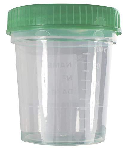 Urinbecher Premium Grün 10 Stück | 125 ml Fassungsvermögen bis 100 ml graduiert | auslaufsicherer und gefriertauglicher Urinprobenbecher mit Schraubdeckel | mattiertes Schriftfeld auf dem Becher