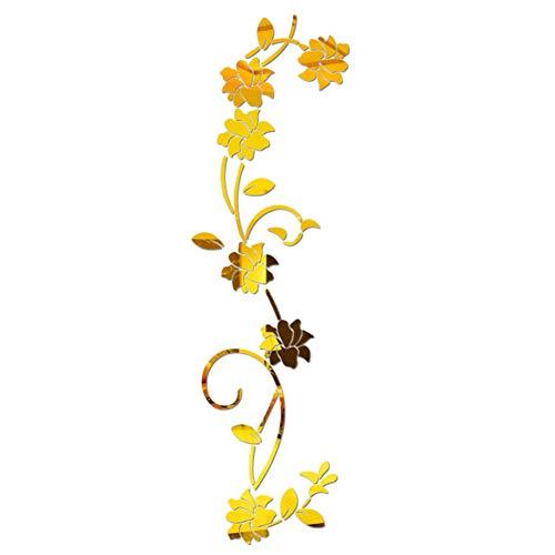 LPxdywlk 3D Spiegeleffekt Blume Rebe Wandaufkleber DIY Acryl Wandtattoo Aufkleber Home Decoration Golden