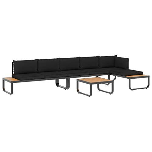 vidaXL Juego de Sofás de Esquina 4 Piezas con Cojines Conjunto de Muebles de Descansar Relajarse con Respaldo Asiento de Exterior Aluminio y WPC